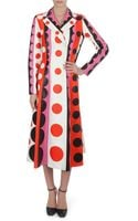 Valentino Carmen Striped Polkadot Leather Trench Coat - Lyst