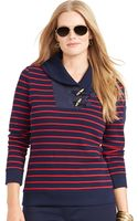 Lauren by Ralph Lauren Striped Shawl-collar Pullover - Lyst