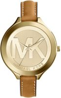 Michael Kors Midsize Golden Stainless Steel Slim Runway Threehand Watch - Lyst