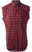 Diesel Sleeveless Tartan Shirt - Lyst