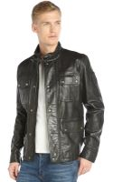 Belstaff Black Waxed Leather Pocket Front Warrington Jacket - Lyst
