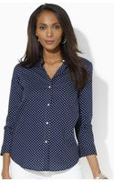 Lauren by Ralph Lauren Polka Dot Cotton Shirt - Lyst