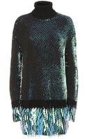 McQ by Alexander McQueen Sequinned Roll Neck Wool Dress - Lyst