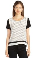 Aryn K. Black and White Silk Woven Lattice Print Top - Lyst