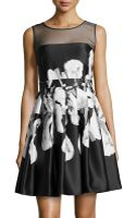 Halston Heritage Iris-print Full-skirt Dress - Lyst