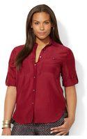 Lauren by Ralph Lauren Plus Size Tabsleeve Utility Shirt - Lyst