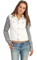 Free People Mixed Media Denim Jacket - Lyst