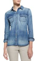 Ag Adriano Goldschmied Dakota Distressed Denim Shirt Vortex Blue - Lyst