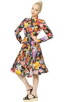 Moschino Silk Crepe De Chine Floral Dress - Lyst