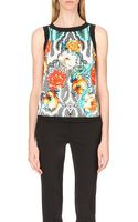 Etro Floral-print Stretch-crepe Top - Lyst