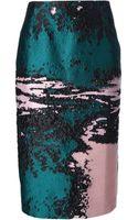 MSGM Jacquard Pencil Skirt - Lyst