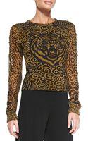 Jean Paul Gaultier Tigerprint Tulle Top Gold - Lyst
