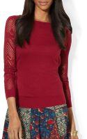 Ralph Lauren Lauren Pointelle Knit Sweater - Lyst