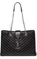 Saint Laurent Monogramme Studded Tote Bag Black - Lyst