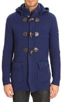 Armani Jeans W24 Hooded Navy Knit Coat - Lyst