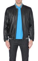 Hugo Boss Jannon Leather Bomber Jacket - Lyst