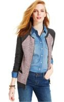 Tommy Hilfiger Mixed-knit Zip-front Cardigan - Lyst