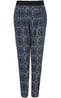 Topshop Mix Tile Print Jersey Tapered Trousers - Lyst