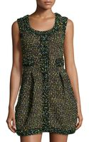 M Missoni Pleated Tweed Sleeveless Dress - Lyst
