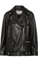 Acne Studios More Oversized Leather Biker Jacket - Lyst