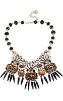 Betsey Johnson Mixed Leopard Stone and Spike Frontal Necklace - Lyst