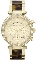 Michael Kors Womens Chronograph Parker Tortoise and Goldtone Stainless Steel Bracelet 39mm - Lyst