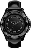 Karl Lagerfeld Black Stainless Steel Pyramid Stud Watch - Lyst