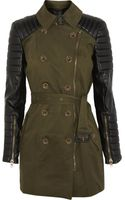 W118 By Walter Baker Keanu Quilted Faux Leather and Cotton-twill Trench Coat - Lyst