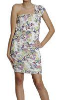 Patrizia Pepe Dresses Oneshoulder Drapeggi Flowers Print - Lyst