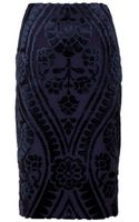 Burberry Prorsum Pencil Skirt with Velvet Appliqué - Lyst