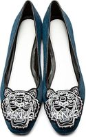 Kenzo Teal Calf_hair Tiger Icon Embroidered Loafers - Lyst