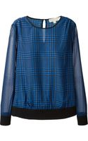 MICHAEL Michael Kors Prince Of Wales Print Blouse - Lyst