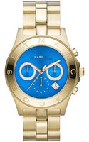 Marc By Marc Jacobs Blade Golden Chronograph Watch with Blue Dial - Lyst