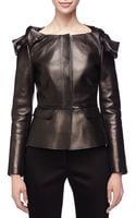 Burberry Prorsum Leather Knotshoulder Peplum Jacket Black 40 - Lyst