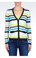 Armani Jeans Striped Modal Cotton Cardigan - Lyst