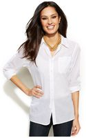 Ellen Tracy Longsleeve Cotton Boyfriend Shirt - Lyst