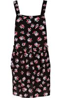 River Island Floral Print Low Back Pinafore Dress - Lyst