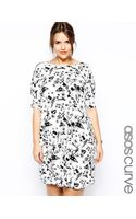 Asos Curve Exclusive Shift Dress in Graffiti Print - Lyst