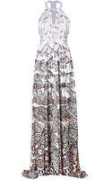Matthew Williamson Silk Dragonfly Gown with Keyhole Cutout - Lyst