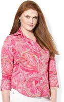 Lauren by Ralph Lauren Plus Paisley Cotton Shirt - Lyst