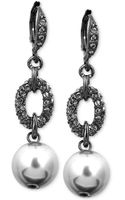 Givenchy Hematite-tone Glass Pearl and Swarovski Crystal Drop Earrings - Lyst