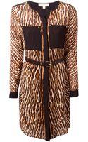 MICHAEL Michael Kors Leopard Print Shirt Dress - Lyst