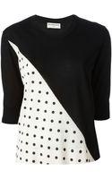 Balenciaga Polka Dot Panel Sweater - Lyst