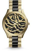 Michael Kors Mid Size Golden Stainless Steel Runway Threehand Glitz Watch - Lyst
