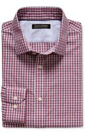 Banana Republic Tailored Slim Fit Non Iron Two Tone Micro Gingham Shirt Red Sunset - Lyst