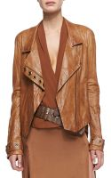 Donna Karan New York Asymmetric Zip Lambskin Leather Jacket - Lyst