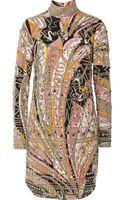Emilio Pucci Embellished Printed Silk Mini Dress - Lyst