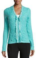 Oscar de la Renta Cashmere Blend Floral Crochet Detailed Cardigan - Lyst