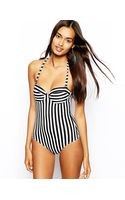 Asos Cupped Stripe Bandeau Swimsuit - Lyst