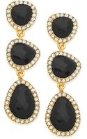 T Tahari Goldtone Jet Stone and Crystal Linear Drop Earrings - Lyst